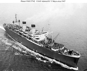 USS Admiral H. T. Mayo (AP-125) - USAT Admiral H. T. Mayo: Serving as an Army transport circa 1947. The Army soon renamed her USAT General Nelson M. Walker.