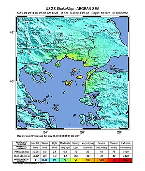 2014 Aegean Sea earthquake - Intensity of shaking during the 2014 Aegean Sea earthquake