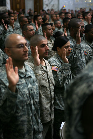 Oath of Allegiance (United States) - U.S. military personnel take the oath of allegiance at Baghdad's al-Faw Palace in April 2008.