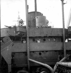 USS Audubon (APA-149) - Image: USS Audubon Aft view of No 21 gun mount Oct 1945