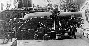 Paixhans gun - The Dahlgren gun was developed as an improvement of the Paixhans gun. View on deck of USS Kearsarge showing aft XI-inch Dahlgren shell gun.