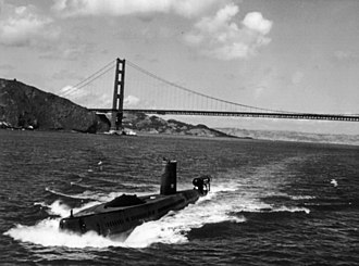 USS Halibut (SSGN-587) - View of Halibut departing San Francisco, likely in the mid 1970s.