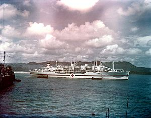 USS Tranquillity (AH-14) at Guam in August 1945.jpg