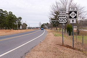 Special routes of U.S. Route 220 - Southbound US 220 Alt to NC 159, near Ulah
