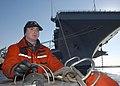 US Navy 030225-N-6278J-001 Ensign Elton Potts of Nashville, Tenn., stands watch on the Rigid Hull Inflatable Boat (RHIB).jpg