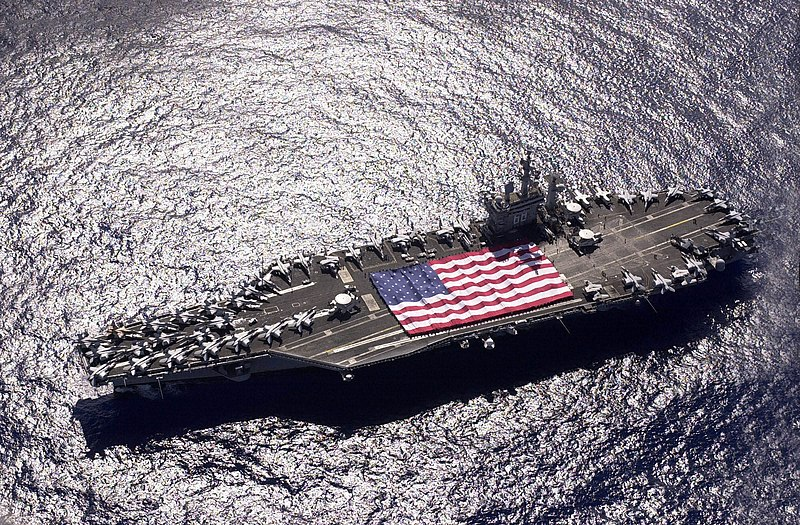 File:US Navy 031103-N-6536T-006 USS Nimitz (CVN 68) and Carrier Air Wing Eleven (CVW-11) personnel participate in a flag unfurling rehearsal.jpg