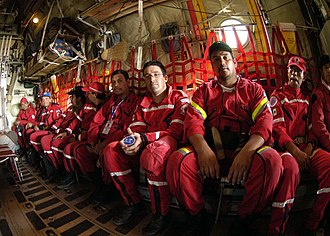 Maritime Search and Rescue (Mexico) - A Mexican Navy Maritime Search and Rescue team departs on a Royal Australian Air Force C-130H Hercules transport plane at Sultan Iskandar Muda International Airport in Banda Aceh, Sumatra, Indonesia en route to Thailand to help survivors of the tsunami disaster in 2005