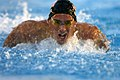 US Navy 071016-N-9818V-119 Air Force 2nd Lt. Christopher Knaute competes in the 100-meter butterfly in the finals at the 4th Conseil Internationale du Sport Militaire's Military World Games.jpg