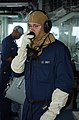 US Navy 080628-N-8943B-012 Operations Specialist 3rd Class Charles Sowards sends reports from the bridge aboard the guided-missile frigate USS Simpson (FFG 56).jpg