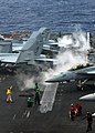 US Navy 080728-N-4519D-066 Flight deck personnel test catapult 4 before launching aircraft from the aircraft carrier USS Theodore Roosevelt (CVN 71).jpg