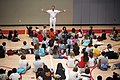 US Navy 090805-N-3038C-005 Rear Adm. Robert L. Thomas, director of Strategy and Policy Division (N51), speaks to children and answers questions about the Navy during a Salinas Navy Week event at the YMCA of Monterey County.jpg