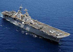 US Navy 100314-N-0120A-446 USS Essex (LHD 2) cruises the South China Sea while participating in exercise Balikatan 2010 (BK 10).jpg