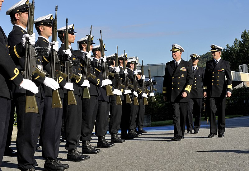 File:US Navy 100816-N-8273J-019 hief of Naval Operations (CNO) Adm. Gary Roughead inspects cadets of the Royal Norwegian Naval Academy while visiting Chief of the Royal Norwegian Navy Rear Adm. Haakon Bruun-Hanssen at Haakonsvern Na.jpg