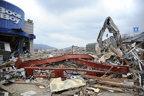 The city of Ofunato, Japan, was severely damaged by the earthquake and subsequent tsunami. Image: U.S. Navy.