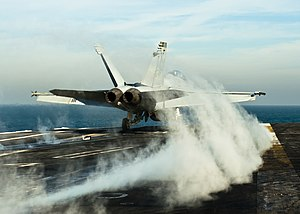 US Navy 111215-N-BT887-065 An F-A-18F Super Hornet from the Black Aces of Strike Fighter Squadron (VFA) 41 launches from the Nimitz-class aircraft.jpg