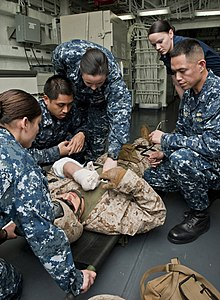 US Navy 120105-N-DX615-016 Medical personnel evaluate a simulated patient during a medical evacuation drill aboard the amphibious assault ship USS.jpg