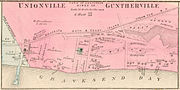 1873 map of the Villages of Unionville and Guntherville, part of the Town of Gravesend, the area of present-day Brighton Beach