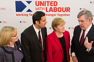 Johann Lamont - Lamont (second from right) alongside Anas Sarwar, Gordon Brown and Margaret Curran at the launch of United with Labour
