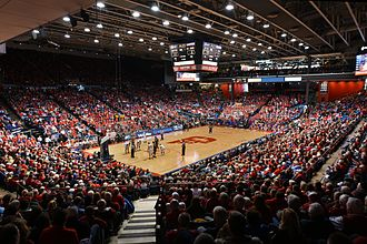 "NCAA Division I Men's Basketball Tournament - The University of Dayton Arena, which has hosted all First Four games since the round's inception in 2011, as well as its precursor, the single ""play-in"" game held from 2001 to 2010. As of 2017, the arena has hosted 115 tournament games, the most of any venue."
