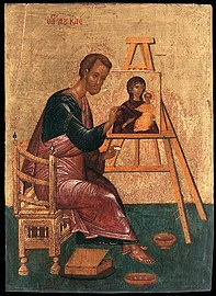 Unknown painter - Luke Paints the Icon of the Mother of God Hodegetria - WGA23494.jpg