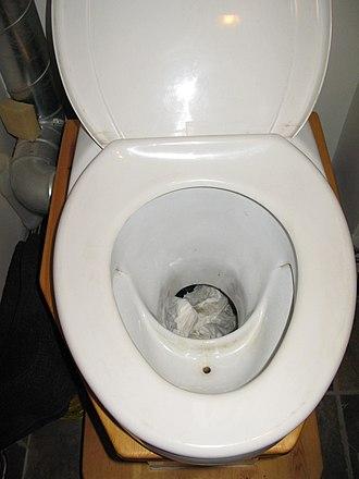 Urine-diverting dry toilet - UDDT at Gebers collective housing estate near Stockholm, Sweden