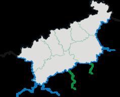 """Mapa konturowa kraju usteckiego, u góry po prawej znajduje się punkt z opisem """"Děčín"""""""
