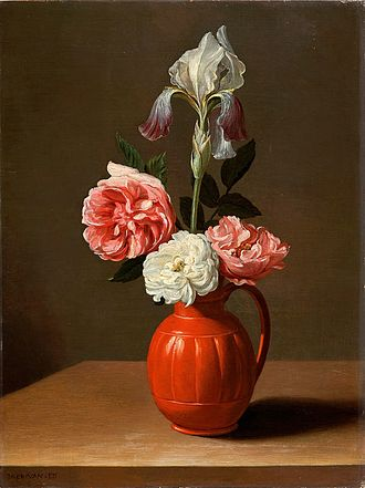 Jacob Foppens van Es - An iris and three roses in an earthenware pot