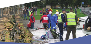 Finnish Red Cross - A montage symbolizing the field of the contributions of NGOs to the Finnish national defence. On left, a mortar squad training (part of the activities of National Defence Training Association of Finland, on the right, a joint exercise of the voluntary rescue organization and the Finnish Red Cross with the police and fire departments.