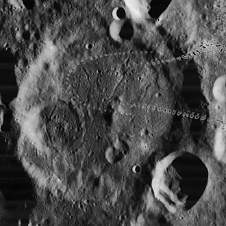 Vasco da Gama (crater) - Lunar Orbiter 4 image (splotches are blemishes on original)