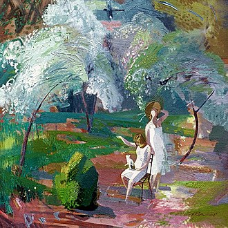 "Vasiliy Ryabchenko - Vasiliy Ryabchenko. ""Flowering time"", 70 х 75 cm, oil on canvas, 1987"