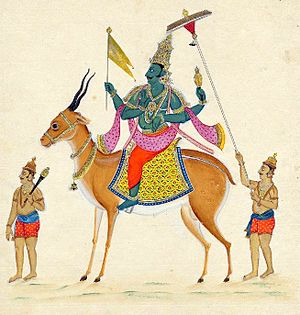 Vayu - Vayu, on his mount, the gazelle symbolizing swiftness