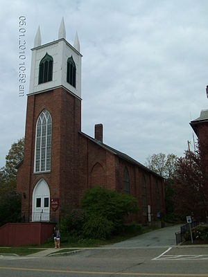 Vergennes, Vermont - St. Paul's Episcopal Church on Main Street next to the City Hall