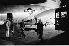 Vietnam War Wounded Servicemen Arrive at Andrews Air Force Base by Warren K. Leffler, 1968.jpg