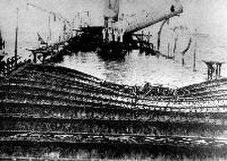 Spanish cruiser Reina Cristina - View aboard the wreck of Reina Cristina looking aft. The direction of the leaning funnel suggests the image may be reversed.