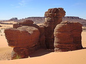 Ennedi-Ouest Region - Sandstone pillars in the Ennedi Plateau near Fada