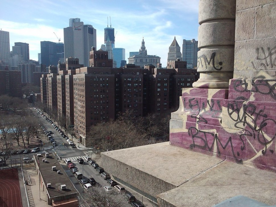 Public housing in the foreground on the Lower East Side