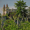 View from the cemetery to the Church of the Assumption of the Blessed Virgin Mary in Budslaŭ - panoramio.jpg
