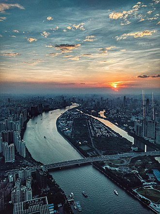 Canton Tower - View of Pearl River From Canton Tower