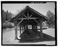 View of east side showing structural elements; view to west. - Warm River Shelter, Warm River Campground, Ashton, Fremont County, ID HABS ID-129-3.tif