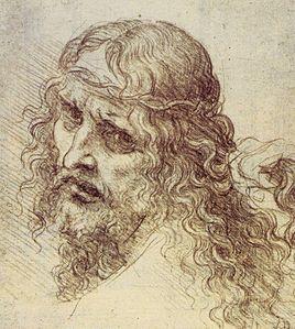 Dessin d'une tête d'un homme chevelu et barbu tournant la tête vers le spectateur