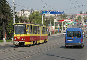 Trams in Vinnytsia - A tram of the KT4 type on vul. Soborna in Vinnytsia.