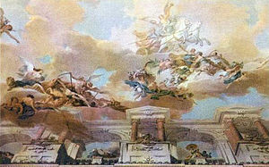 Guillaume Taraval - White Sea, ceiling painting fresco by Guillaume Thomas Taraval, depicted on postcard