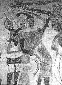 Vitalienbrueder, Wandmalerei in d, Kirche zu Bunge auf Gotland, gemalt ca. 1405.JPG
