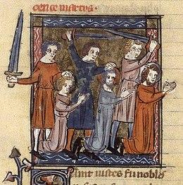 Martirio dei santi Vito, Modesto e Crescenza, manoscritto francese del XIV secolo.