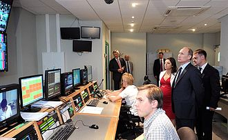 RT (TV network) - Vladimir Putin during a visit to the new RT broadcasting centre