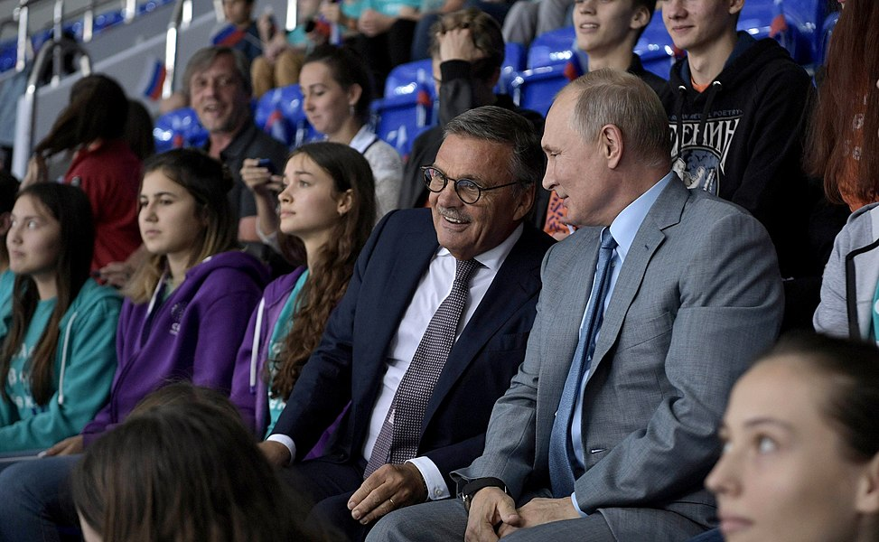 Vladimir Putin at the opening ceremony of the 2019 Sirius Junior Club World Cup (2019-08-23) 1.jpg