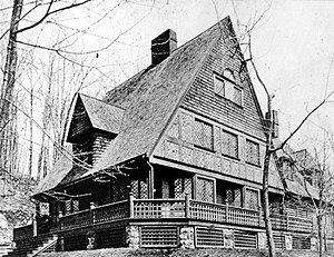 Bruce Price - W. Chanler Cottage, Tuxedo Park, New York (1885-86, altered).  Frank Lloyd Wright may have modeled his Oak Park house and studio after these two cottages.