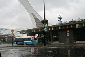 Viau station - Entrance with the Olympic Stadium in the background