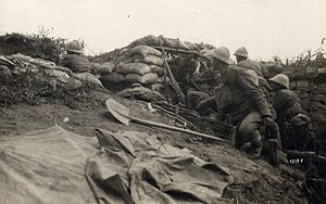 WWI - Battle of the Piave River - Italian machine gun position near Cand.jpg