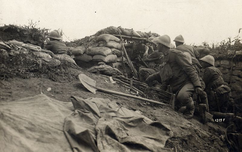 File:WWI - Battle of the Piave River - Italian machine gun position near Cand.jpg